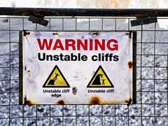 unstable cliffs (friendlydrag0n) Tags: unstable cliffs sign warning pictogram signage