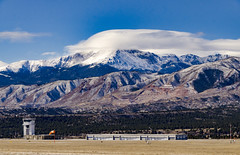 United States Air Force Academy Airfield (photographyguy) Tags: colorado coloradosprings rockies rockymountains mountains clouds usaf usafacademy windsock controltower sky airfield military snow hanger airforce pikespeak