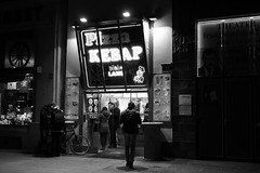 The Life of Pi Kebap (No_Mosquito) Tags: fast food kebap vienna wien city centre urban life night street people monochrome canon powershot g7x mark ii europe winter dark cold dürüm lamb turkish bw contrast red filter