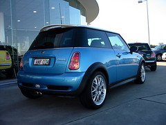 Rear of Electric Blue MINI Cooper S