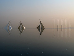 Infinity pool and beyond (3+5) (Lil [Kristen Elsby]) Tags: abstract reflection water pool japan architecture tokyo topf50 asia sails symmetry getty  topv4444 magichour infinitypool gettyimages kasairinkaikoen eastasia kasairinkaipark   tokyosealifepark topvaa  gettyimagesonflickr