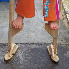 Experimental Stilts (Brenda Anderson) Tags: feet wooden steps experiment pcss stilts curiouskiwi ssfingersandtoes utatawalksthisway brendaanderson curiouskiwi:posted=2005