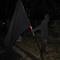 Demonstration for the Coppi-Gymnasium: a lonesome bearer of the anarchist flag #2 - by yog