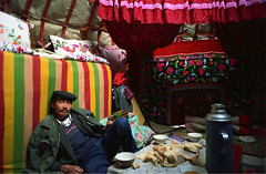 yurt interior (themexican) Tags: xinjiang tianshan kazakh yurt people men