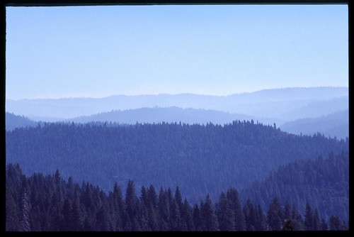 Photo: Haze and smoke over the Stanislaus National Forest above Arnold California. Photo by Loyd Schutte.
