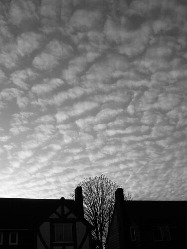 black and white sky