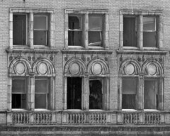 Eddystone Hotel, Detroit, January 2005 (Bobby Alcott) Tags: detroit bw urban decay blight broken window