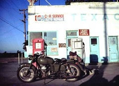 On The Road with the Moto Guzzi NATO -  Leica M2 (Vincent Anton / aka Astrovine) Tags: california leica italian view roadtrip gasstation motorcycle predigital biker texaco motoguzzi m2 nato vintagetexaco