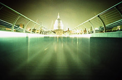 Saint Pauls Cathedral from Millenium Bridge (lomokev) Tags: longexposure bridge urban green london topf25 night lomo lca xpro lomography crossprocessed xprocess lomolca millenniumbridge agfa praiseandcurseofthecity jessops100asaslidefilm agfaprecisa top20night saintpaulscathedral lomograph agfaprecisa100 cruzando precisa replaced jessopsslidefilm publishedinjpg submittedtojpg rota:type=showall rota:type=perspective rota:type=cityscape file:name=cd02301 use:on=moo wbslondonselection
