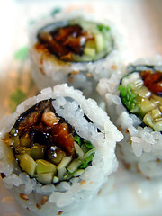 Flickr Loves Sushi. Mmm. (drp) Tags: macro topv2222 sushi japanese restaurant avocado rice cucumber nj roll eel lincolnpark kimssushi