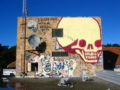 I sleep here with a hatchet (Claudine) Tags: sanfrancisco rooftop skulls graffiti presidiohospital phsh presidio hospital abandoned skull characters bookman herman booker books readmore