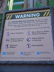 Universal Studios Warning Sign (tom.arthur) Tags: universalstudios warning attraction jurassicpark hollywood