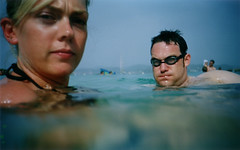julia & hag(Stuart) (lomokev) Tags: sea vacation holiday water spain top20portrait julia cosina stuart ibiza swiming hag cosinacx2 cx2 kageyb juey deletetag flickr:user=kageyb flickr:user=juey