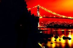 Remix of Lions Gate Bridge from Stanley Park, Vancouver - British Columbia (Kris Krug) Tags: 2005 canada night vancouver britishcolumbia canon20d january fav20 seawall stanleypark lionsgatebridge popular fav30 staticstock fav10 kktop20interesting vanpeintro