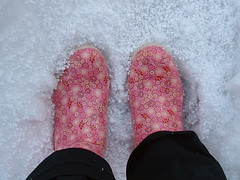 wellies (highglosshighs) Tags: 2005 pink flowers snow love me japan  february wellies standingthere fukumitsu