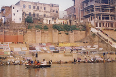 Dhobi ghat on the Ganges (Dey) Tags: india varanasi ganges river ghat