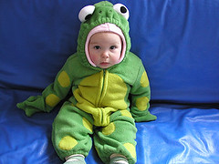 froggy baby (massdistraction) Tags: baby cute green costume halloweencostume frog froggy sprog intent polarfleece babybunting halloweenbaby