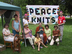 Photo: Peace Knits banner at Nelson Knit-out in the Park