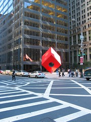 Noguchi's Red Cube, far by Peter Kaminski, on Flickr