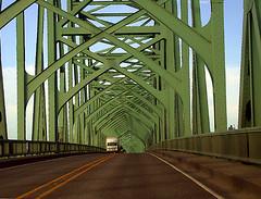 Highway 101 Oregon (Mary Hockenbery (reddirtrose)) Tags: road bridge green topf25 topv2222 oregon truck topv555 topv333 highway topv1111 topc50 topv999 roadtrip lane 50100fav inpassing topv777 reddirtrose ybp photodomino60 utatadrawslines msh0906 msh09062