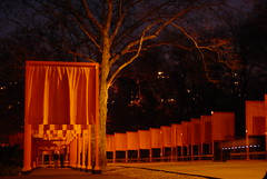 The Gates: Tree of Orange (LarimdaME) Tags: nyc thegates gates gate orange saffron centralpark christo art flickrmeetup night