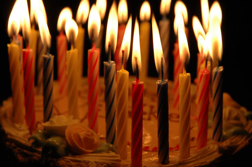 flickring candles · Birthday Cake and 28 Candles
