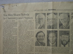 Newspaper clipping posted in the Physics Student Center at RIT.