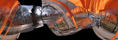 crazy gates panorama (DogFromSPACE) Tags: autostitch panorama thegates gates ny nyc manhattan centralpark christo newyork art jeanclaude abstract orange wierd funky crazy whoa gatesmemory