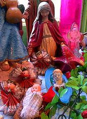 nativity (Mary Hockenbery (reddirtrose)) Tags: christmas pink baby window catchycolors toys topv555 topv333 shrine starfish reddirtrose nativityscene