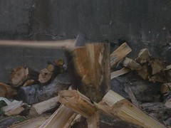 chopping wood: split