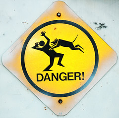 Caution: Low Flying Dogs (Mark Strozier) Tags: dog sign warning icon stickfiguresinperil caution jazzhands