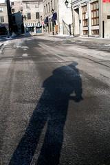 Ombre de Matin. (O Caritas) Tags: 2005 street portrait people selfportrait canada me self montral quebec montreal qubec february rue pointshoot ocaritas nikoncoolpix3200 morningshadow myfirstdigitalcamera