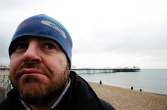 warners day out (lomokev) Tags: blue sea portrait pier brighton phil palace phillip eos1 brightonpier conan palacepier deletetag file:name=eos10205132 warnertwo
