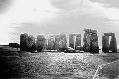 Stonehenge Variation (Brenda Anderson) Tags: uk england blackandwhite stonehenge scannedprint curiouskiwi brendaanderson curiouskiwi:posted=2005