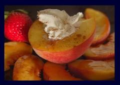 Peaches (J. Star) Tags: food strawberry peach whippedcream foodporn peaches syrup