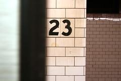 MJ Loved NY (k.james) Tags: nyc newyorkcity urban newyork train subway tile bricks jordan number numbers signage mta michaeljordan doorsareclosing pleasedonotleanagainstthedoors