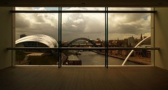 Room with a view (Ray Byrne) Tags: bridge sky window glass clouds canon wow river newcastle 350d gallery view artgallery bridges baltic sage tyne millenniumbridge gateshead tynebridge quayside viewinggallery raybyrne balticartgallery byrneout