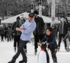 """Just the two of us You and I"" - Bill Withers (Lidiya Nela) Tags: candid people urban manhattan nyc newyork city iceskate streetphotography bryantpark"