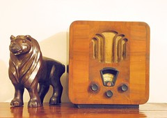 The warm hum of a valve wireless (Colonel Blink) Tags: old radio vintage 1930s antique walnut lion carving collection wireless artdeco mahogany colonelblink britishempireexhibition lionnotlion ronseal