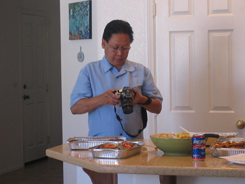 Dad taking pix at the bridal shower