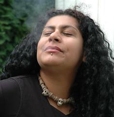 Rossy smoking