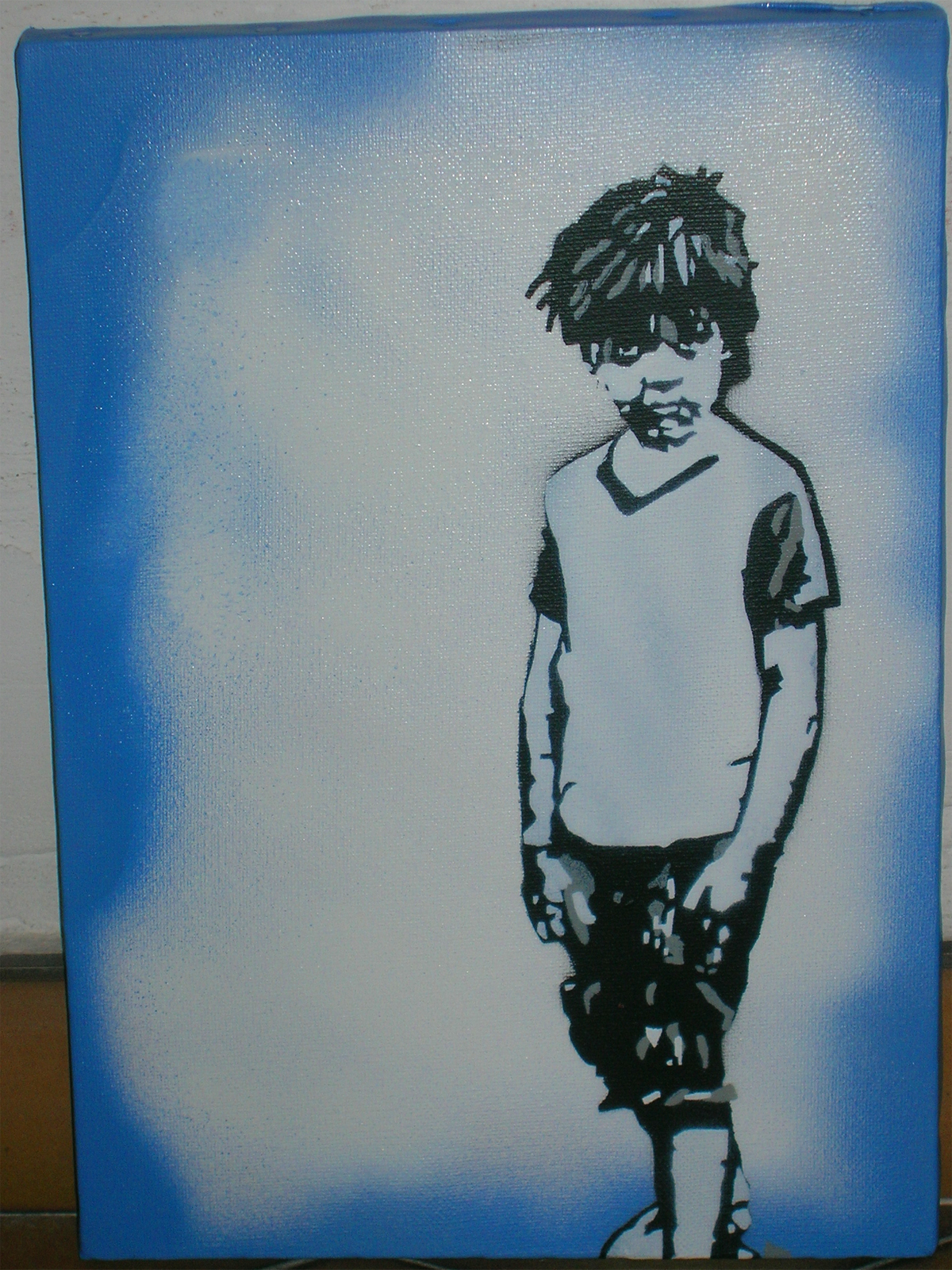 stencil graffiti of a young child