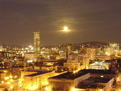 Downtown Portland Oregon (Squid Vicious) Tags: city longexposure orange moon blur yellow night clouds oregon portland lights long exposure downtown sony harvest fullmoon epic oregonian dscv1 fav10 thebestyellow