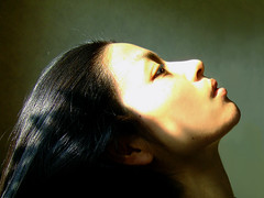 one breath, one heartbeat (tamjpn) Tags: portrait woman black green topf25 hair t asian topv333 profile nomakeup