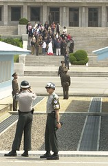 NK tourists (DanJLove) Tags: army uniform north korea binoculars dmz jsa panmunjeom