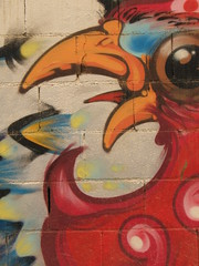 Chicken graffiti (sterestherster) Tags: barcelona red espaa chicken colors wall graffiti spain paint kip photodomino esther pollo photodomino128 spanje gallina tbg thebiggestgroup