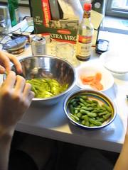 Edamame, action shot (askliu) Tags: edamame soybean food actionshot