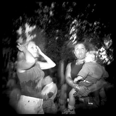 The Block Party Sagas (20th in a series) (Bill Vaccaro) Tags: party urban bw chicago blur 120 film mediumformat toy holga toycamera plastic outofcontxt aprticket antiphoto aprticket3 blockparty aprticket2