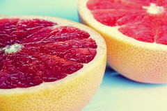 Breakfast is sliced (simpologist) Tags: red fruit breakfast wow catchycolors xpro crossprocessed 500v20f cut grapefruit segment pulp sliced ruby halved citrous c41e6cyan