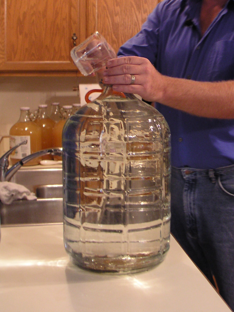 Adding Bleach Janinewhite Tags Cidermaking Jgoldpac 2005 Carboy Pouring Kitchen Cooking